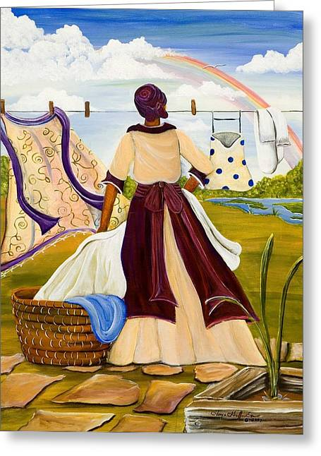 African Heritage Mixed Media Greeting Cards - After the Rain Greeting Card by Sonja Griffin Evans