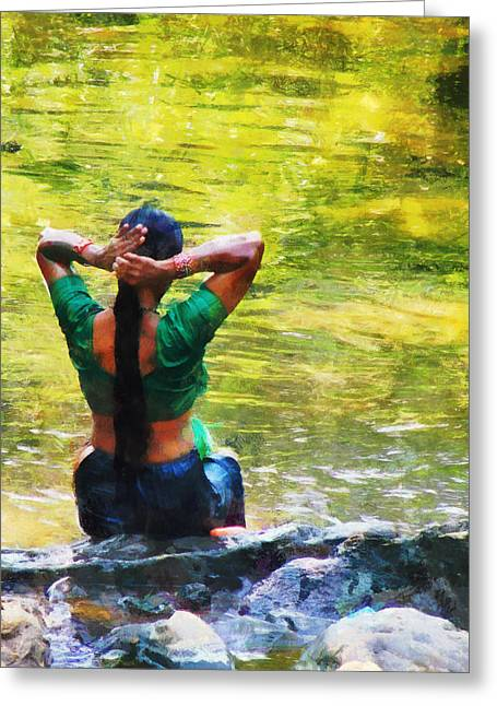 After The River Bathing. Indian Woman. Impressionism Greeting Card by Jenny Rainbow