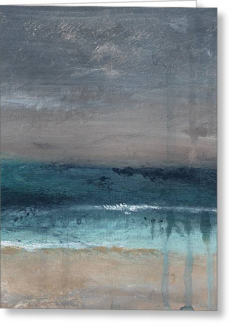 Aqua Blue Greeting Cards - After The Storm- Abstract Beach Landscape Greeting Card by Linda Woods