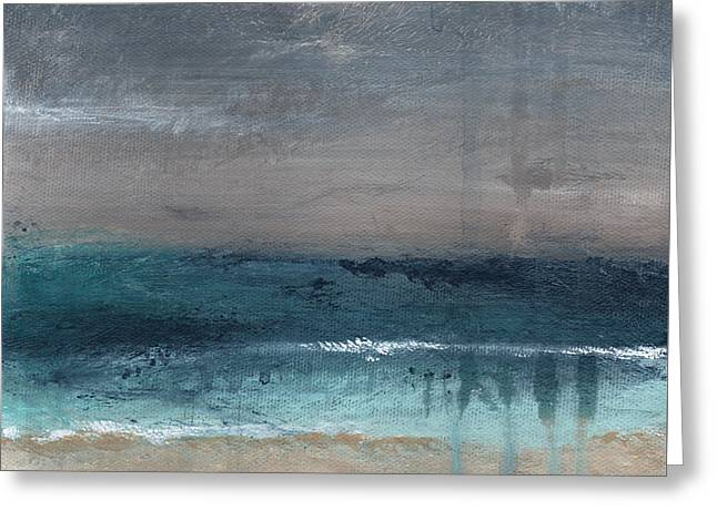 Blue Abstracts Greeting Cards - After The Storm- Abstract Beach Landscape Greeting Card by Linda Woods