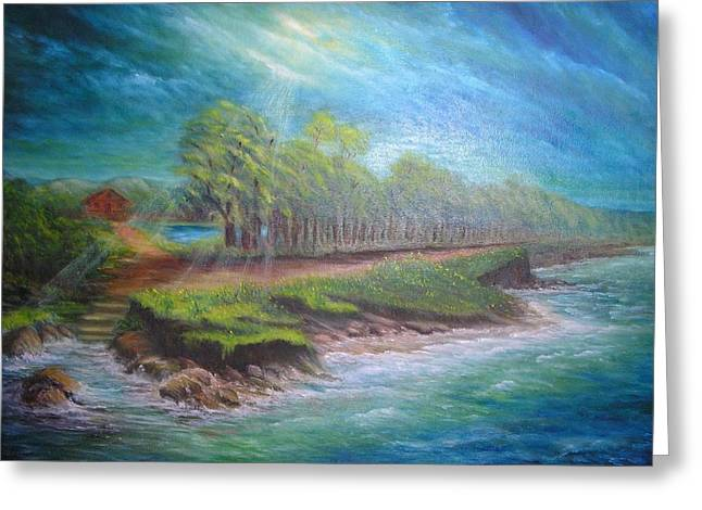 Sun Rays Paintings Greeting Cards - After the Storm Greeting Card by Affordable Art Halsey