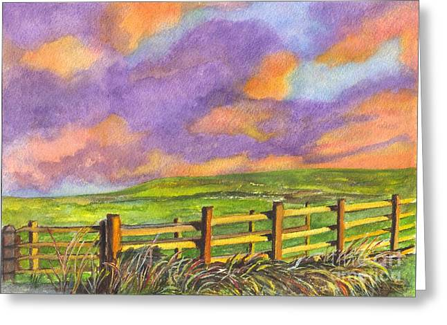Field. Cloud Drawings Greeting Cards - After The Storm Greeting Card by Carol Wisniewski