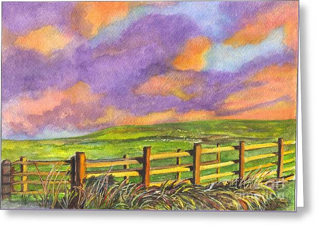 Pasture Scenes Drawings Greeting Cards - After The Storm Greeting Card by Carol Wisniewski