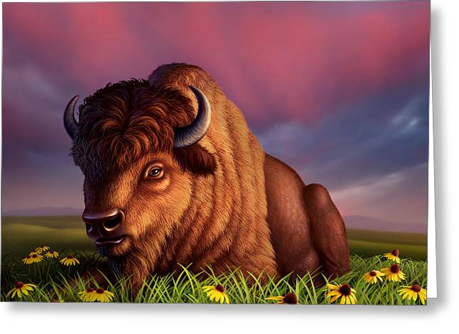 Buffalo Digital Greeting Cards - After the Storm Greeting Card by Jerry LoFaro