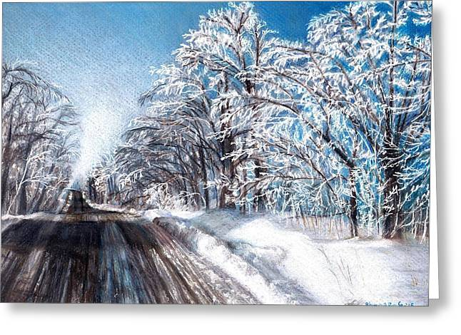 Snowy Roads Drawings Greeting Cards - After the Storm Greeting Card by Shana Rowe