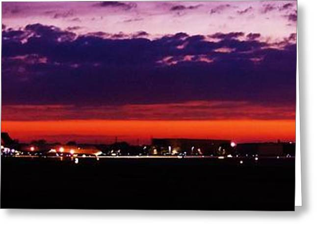 Traffic Control Greeting Cards - After The Sunset At Gerald R Ford Airport Greeting Card by Rosemarie E Seppala