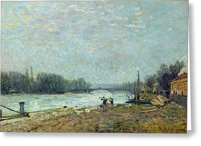 Floods Greeting Cards - After The Thaw, The Seine At Suresnes Bridge, 1880 Oil On Canvas Greeting Card by Alfred Sisley