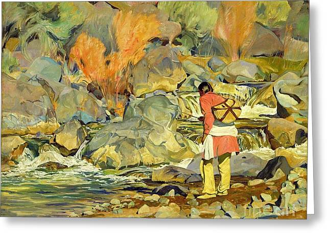 Fishing Creek Greeting Cards - After Them Greeting Card by Pg Reproductions