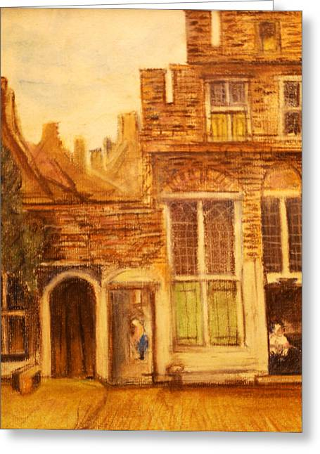 Renaissance Pastels Greeting Cards - After Vermeer Greeting Card by Paul Sutcliffe