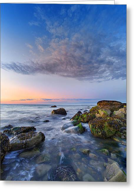 Long Island Sound Greeting Cards - Afterglow on Long Island Sound Greeting Card by Rick Berk
