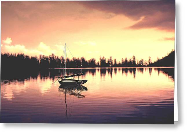 Sailboat Photos Greeting Cards - AFTERGLOW  sunset on lake sailboat panoramic picture Greeting Card by John Samsen