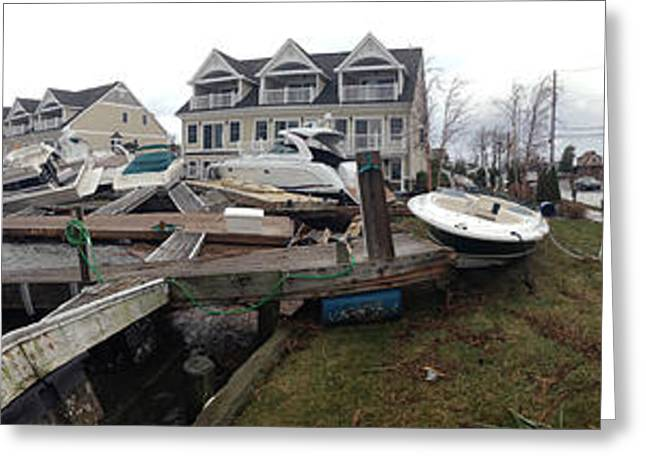 Natural Disaster Greeting Cards - Aftermath Of Hurricane Sandy, Island Greeting Card by Panoramic Images