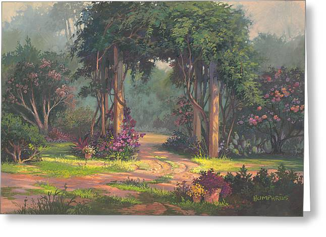 Trellis Paintings Greeting Cards - Afternoon Arbor Greeting Card by Michael Humphries