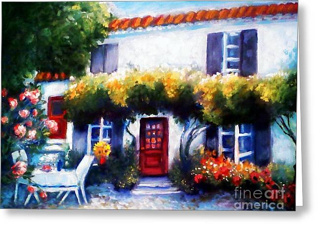 Shudder Greeting Cards - Afternoon At A Country White House Greeting Card by Barbara LeMaster