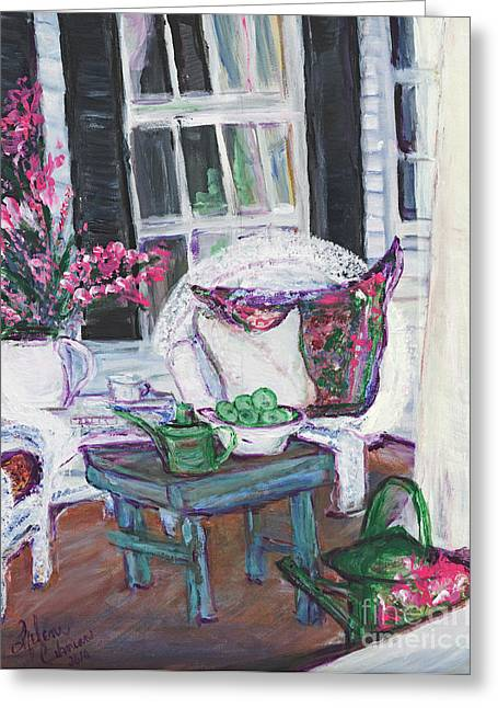 Afternoon Drawings Greeting Cards - Afternoon At Emmanlines Front Porch Greeting Card by Helena Bebirian