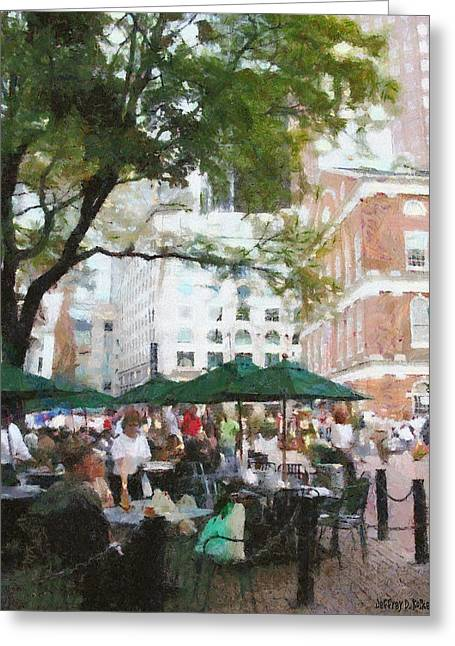 Eating Greeting Cards - Afternoon at Faneuil Hall Greeting Card by Jeff Kolker