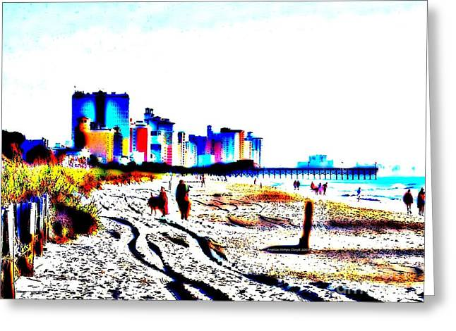 Afternoon at the Beach Greeting Card by Angelia Hodges Clay