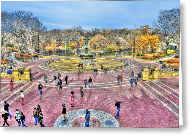 Bethesda Fountain Greeting Cards - Afternoon at the Bethesda Fountain Greeting Card by Randy Aveille