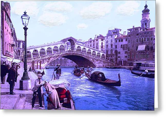 River Flooding Mixed Media Greeting Cards - Afternoon At the Rialto Bridge Venice Italy Greeting Card by L Brown