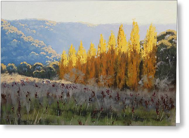 Calm Paintings Greeting Cards - Afternoon Autumn Light Greeting Card by Graham Gercken