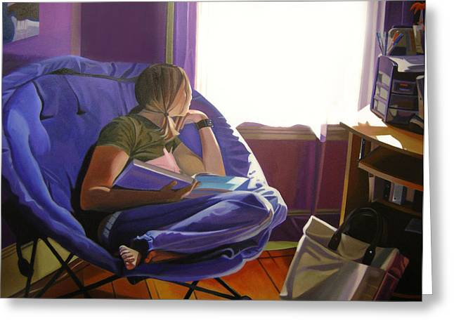 Futon Greeting Cards - Afternoon Daydream Greeting Card by JJ Long