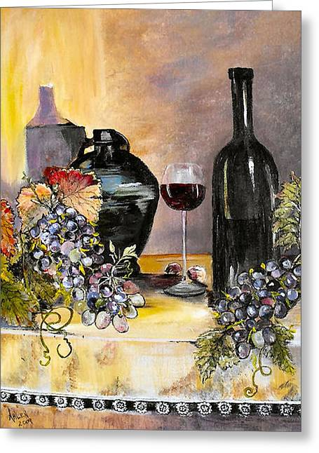 Fine Bottle Drawings Greeting Cards - Afternoon delight Greeting Card by Arlen Avernian Thorensen