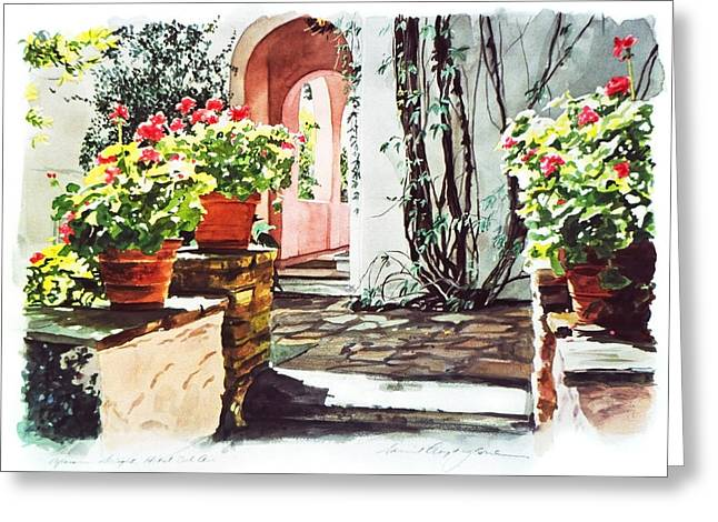 Architectural Elements Greeting Cards - Afternoon Delight - Hotel Bel-air Greeting Card by David Lloyd Glover