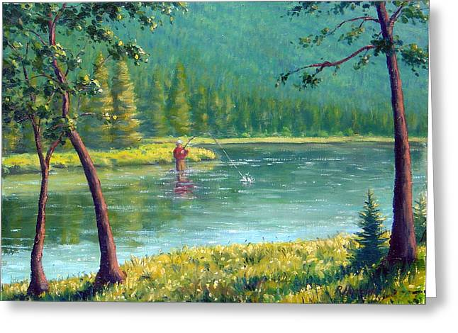 Salmon Paintings Greeting Cards - Afternoon Fishing Greeting Card by Rick Hansen