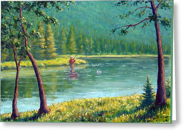 Award Winning Art Greeting Cards - Afternoon Fishing Greeting Card by Rick Hansen