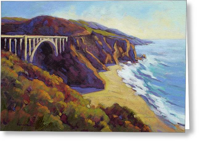 Bixby Bridge Paintings Greeting Cards - Afternoon Glow 3 BIg Sur Greeting Card by Konnie Kim