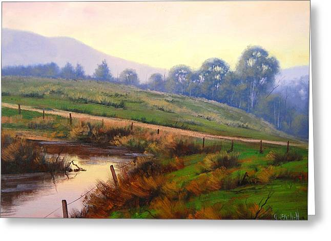 Beautiful Creek Paintings Greeting Cards - Afternoon Glow Greeting Card by Graham Gercken