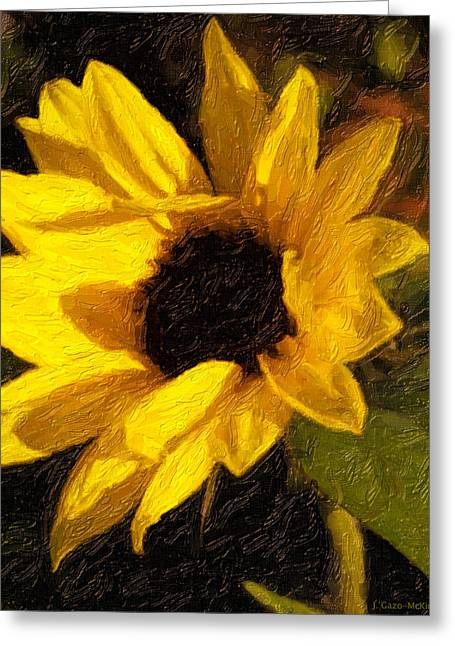 Yellow Sunflower Greeting Cards - Afternoon Glow Greeting Card by Jo-Anne Gazo-McKim