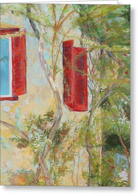 Old Door Pastels Greeting Cards - Afternoon in Athens Greeting Card by Mary Benke