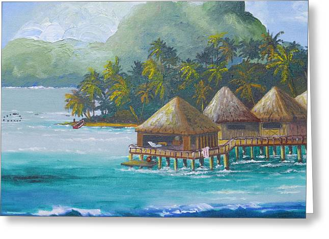 Recently Sold -  - Boats On Water Greeting Cards - Afternoon in Bora Bora Greeting Card by Barbara Ebeling