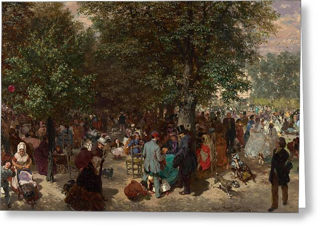 Afternoon In The Tuileries Gardens Greeting Card by Adolph Friedrich Erdmann von Menzel