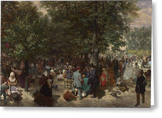 Menzel Greeting Cards - Afternoon in the Tuileries Gardens Greeting Card by Adolph von Menzel