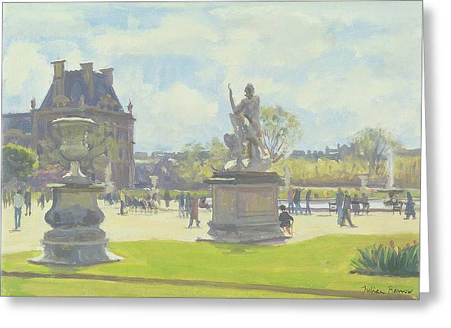 Parisian Greeting Cards - Afternoon In The Tuileries, Paris Oil On Canvas Greeting Card by Julian Barrow