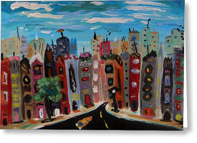 Afternoon Drawings Greeting Cards - Afternoon Landscape of This City Greeting Card by Mary Carol Williams