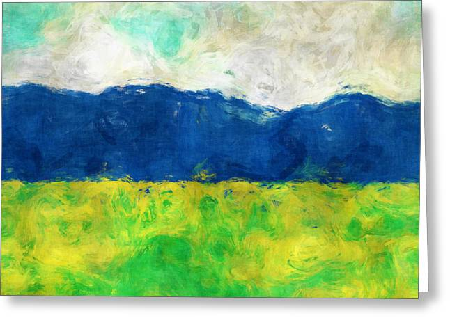 Field. Cloud Digital Art Greeting Cards - Afternoon Meadow Greeting Card by David G Paul