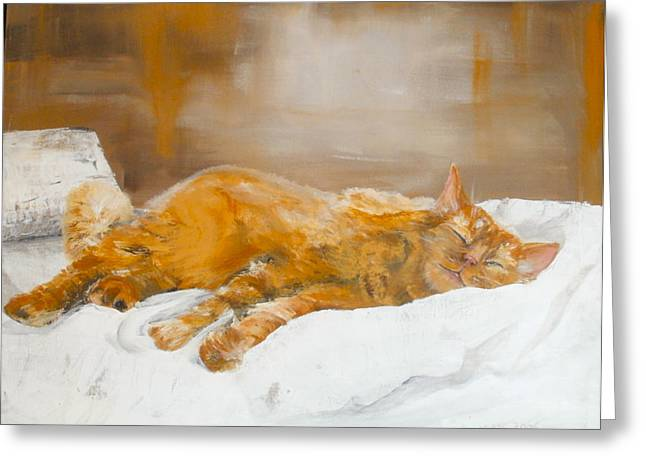 Moggy Greeting Cards - Afternoon Nap Greeting Card by Kate Lomax