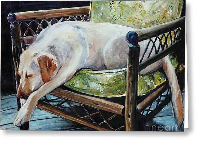 Yellow Labrador Retriever Greeting Cards - Afternoon Nap Greeting Card by Molly Poole