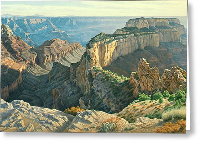 Canyons Paintings Greeting Cards - Afternoon-North Rim Greeting Card by Paul Krapf