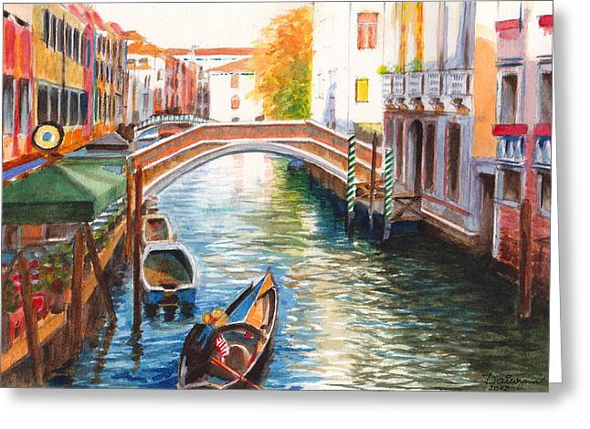 Gondolier Drawings Greeting Cards - Afternoon on a canal in Venice Italy Greeting Card by Dai Wynn