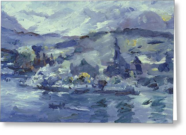 Mountains And Lake Greeting Cards - Afternoon on Lake Lucerne Greeting Card by Lovis Corinth