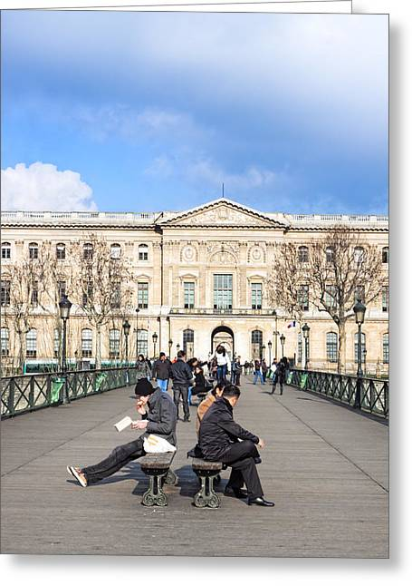 Al Fresco Greeting Cards - Afternoon on the Pont des Arts - Parisian Style Greeting Card by Mark Tisdale