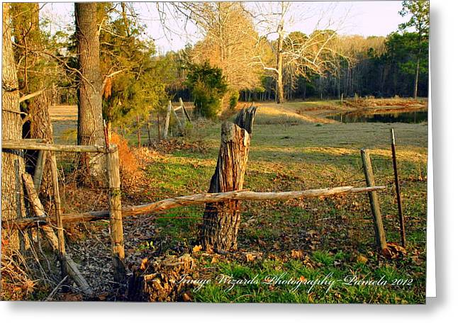 Pastureland Greeting Cards - Afternoon Orange Gold Glow on the Old Broken Fence Greeting Card by ARTography by Pamela  Smale Williams