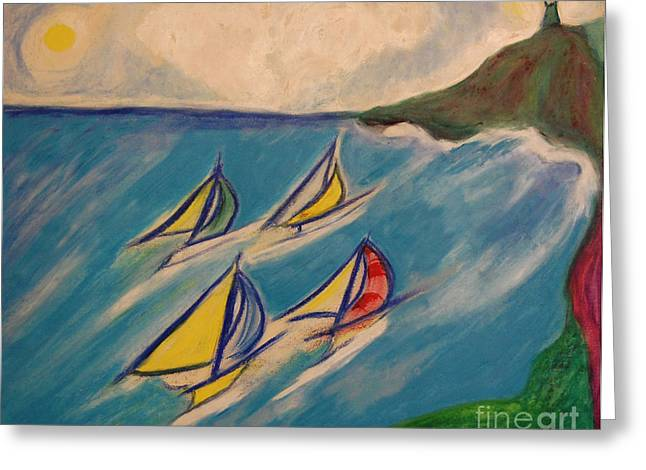 Nautical Pastels Greeting Cards - Afternoon Regatta by jrr Greeting Card by First Star Art