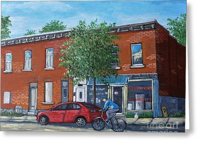 Montreal Art Greeting Cards - Afternoon Ride Pointe St Charles Greeting Card by Reb Frost