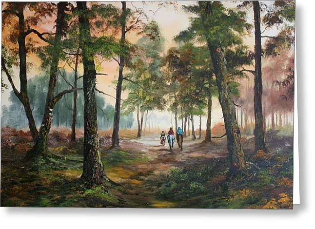 Jean Walker Greeting Cards - Afternoon Ride Through The Forest Greeting Card by Jean Walker