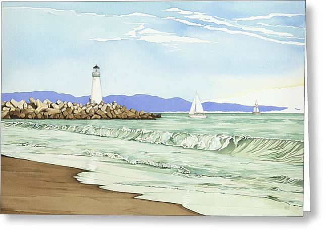 Santa Cruz Sailboat Greeting Cards - Afternoon Sail Walton Lighthouse Greeting Card by Kerry Van Stockum